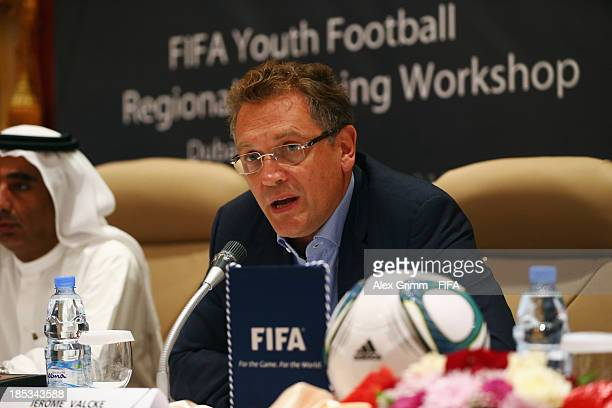Secretary General Jerome Valcke opens the FIFA Football Regional Coaching Workshop at Emirates Concorde Hotel on October 19 2013 in Dubai United Arab...
