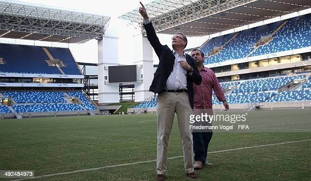 Secretary General, Jerome Valcke takes a tour of the Arena Pantanal during the 2014 FIFA World Cup Host City Tour on May 20, 2014 in Cuiaba, Brazil.