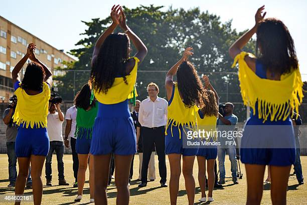 Secretary General Jerome Valcke visits the football for hope supported organizacion Bola Pra Frente during the 2014 FIFA World Cup Host City Tour on...