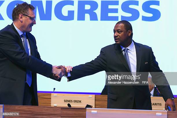 Secretary General Jerome Valcke welcomes Jeffrey Webb CONCACAF President for the 64th FIFA Congress at TEC on June 11 2014 in Sao Paulo Brazil