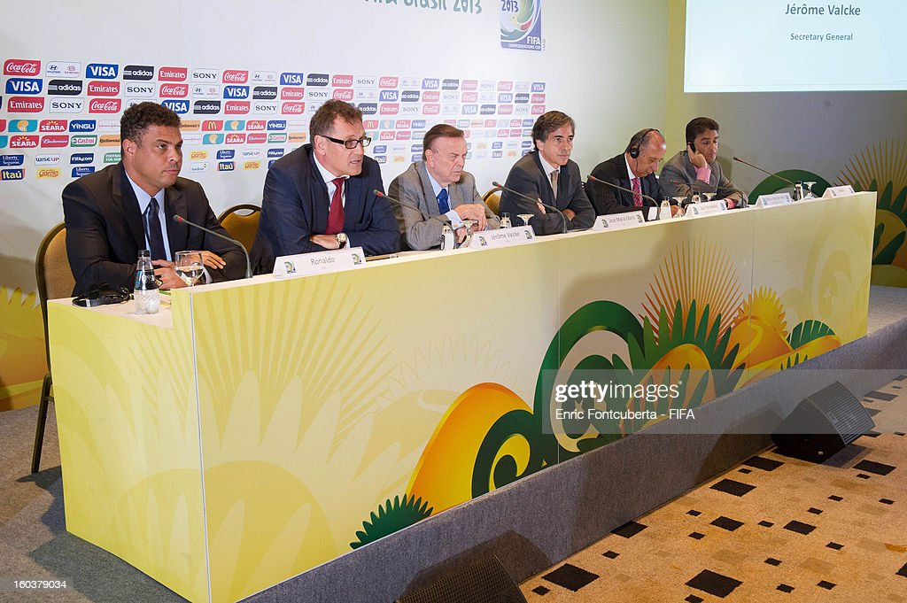 Secretary General Jerome Valckle, CBF President Jose Maria Marin, FIFA Ambassador and LOC Members Ronaldo Luis Nazario, Roberto Gama de Oliveira Bebeto and Brazilian Sports Secretary General Luis Fernandes attend the LOC Management Board Meeting during 2014 FIFA World Cup Host City Tour on January 30, 2013 in Rio de Janeiro, Brazil.