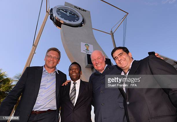 Secretary General Jérôme Valcke Brazilian football legend Pele and JeanClaude Biver chairman of Hublot at the launch for for Hublot as the official...