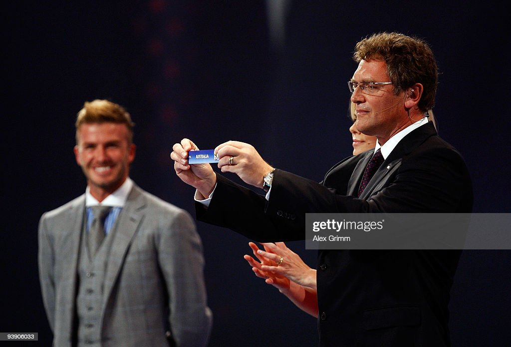 Secretary General Jérôme Valcke holds the name of Australia during the Final Draw for the FIFA World Cup 2010 December 4, 2009 at the International Convention Centre in Cape Town, South Africa.