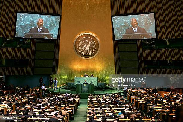 Secretary General Kofi Annan addresses the United Nations General Assembly on September 14 2005 in New York The 60th session of the UN General...