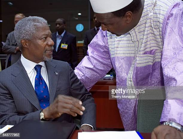UN Secretary General Kofi Annan and Alpha Oumar Konare Chairman of the African Union Commission chat at the opening of an International Conference on...