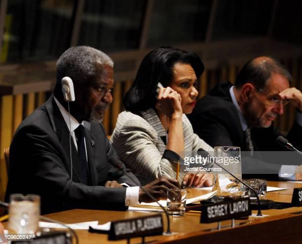 UN Secretary General Kofi Annan HE Ms Condoleezza Rice Secretary of State and HE Mr Javier Solana High Representative for a Common Foreign and...