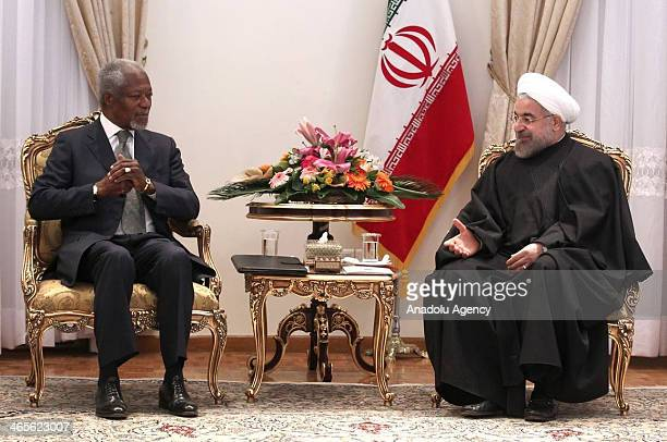 N Secretary General Kofi Annan meets with Iranian President Hassan Rouhani at his office during their meeting in Tehran Iran on January 28 2014