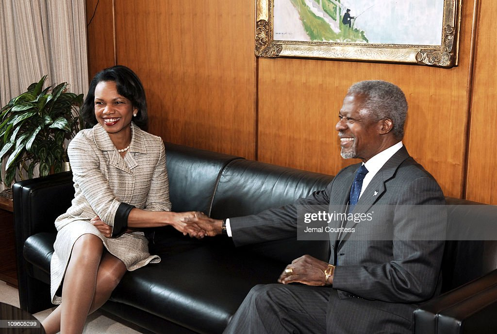 U.N. Secretary General Kofi Annan meets with U.S. Secretary of State, Condoleezza Rice