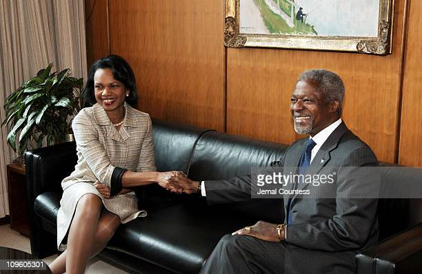Secretary General Kofi Annan meets with U.S. Secretary of State, Condoleezza Rice on May 9, 2005 at the United Nations in New York City