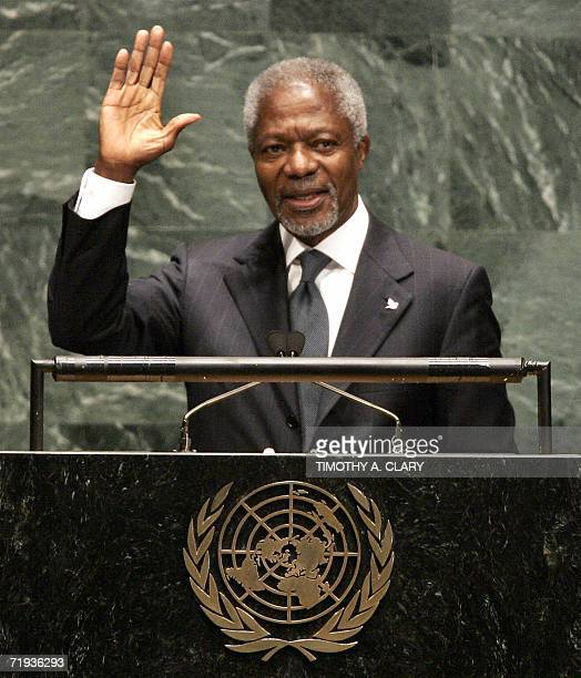 Secretary General Kofi Annan waves after delivering his final speech to the 61st session of the UN General Assembly in New York 19 September 2006 The...