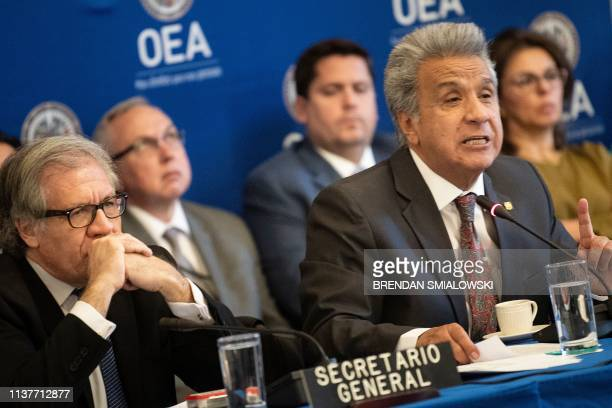 OAS Secretary General Luis Almagro listens with others while Ecuador's President Lenin Moreno speaks at the Organization of American Stateson April...
