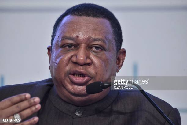 Secretary General Mohammad Barkindo speaks on July 12 2017 at the IEA OPEC dialogue session during the 22nd World Petroleum Congress in Istanbul /...