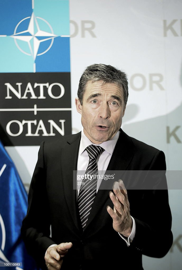 Secretary General Mr Anders Fogh Rasmussen,talks to the media during a press conference at the KFOR headquarters in Pristina on May 21, 2010.