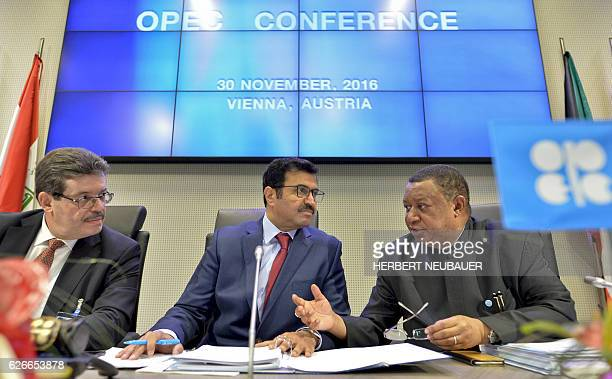 Secretary General Nigerian Mohammed Barkindo the Chairman of the OPEC Board of Governors Algerian Mohamed Hamel and the President of the Organisation...