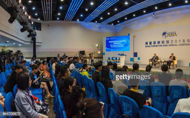 Secretary General of Boao Forum for Asia Zhou Wenzhong , speaks during the closing press conference of the BFA Annual Conference 2018 in Boao, south...