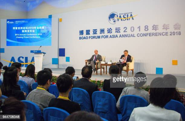 Secretary General of Boao Forum for Asia Zhou Wenzhong speaks during the closing press conference of the BFA Annual Conference 2018 in Boao south...