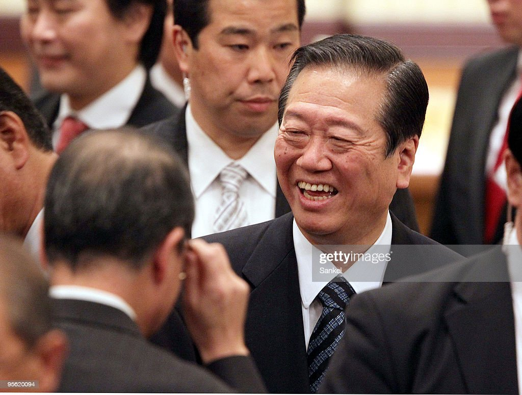 Secretary General of Democratic Party of Japan Ichiro Ozawa smiles during the a New Year party of the Japan Trade Union Confederation (JTUC) Tokyo at a hotel in Tokyo, Japan. Ozawa asked support in the coming upper house election.