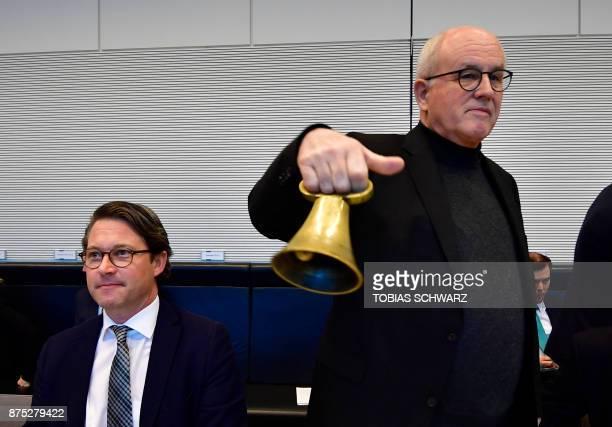 Secretary General of German Christian Social Union Andreas Scheuer and Christian Democratic Union Secretary General Volker Kauder start a meeting of...