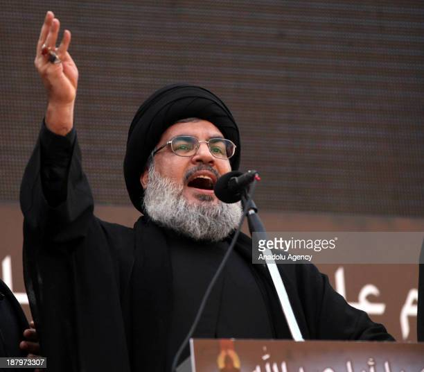 Secretary General of Hezbollah Hassan Nasrallah makes his speech during commemoration of the martyrdom of Husayn ibn Ali on November 14, 2013 in...