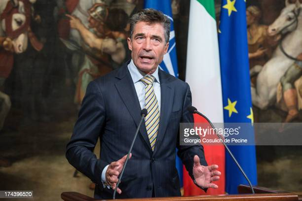 Secretary General of NATO Anders Fogh Rasmussen gestures as he attends a press conference with Italian Prime Minister Enrico Letta at Palazzo Chigi...