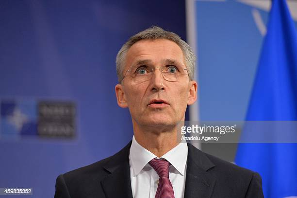 Secretary General of NATO Jens Stoltenberg speaks during a press conference following a NATO foreign ministers meeting with Afghan President Ashraf...