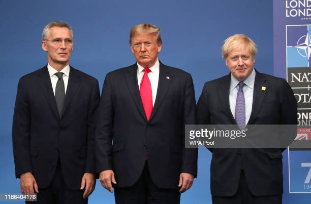 Secretary General of NATO Jens Stoltenberg US President Donald Trump and British Prime Minister Boris Johnson onstage during the annual NATO heads of...