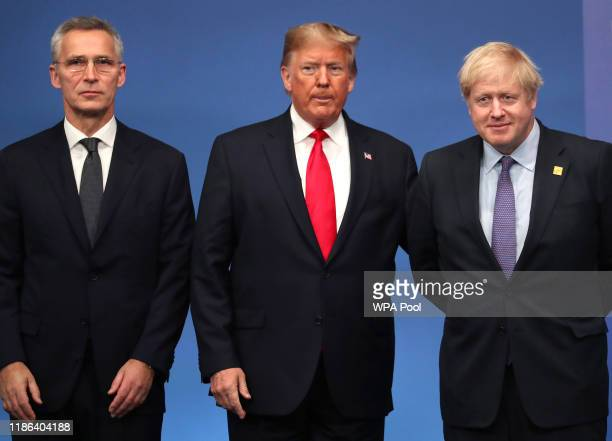 Secretary General of NATO Jens Stoltenberg, US President Donald Trump and British Prime Minister Boris Johnson onstage during the annual NATO heads...
