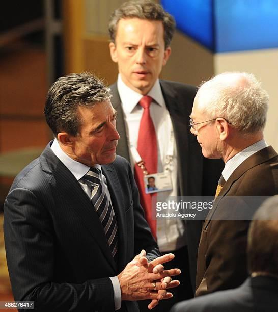 Secretary General of NATO North Atlantic Treaty Organization Anders Fogh Rasmussen talks with European Council President Herman Van Rompuy during the...