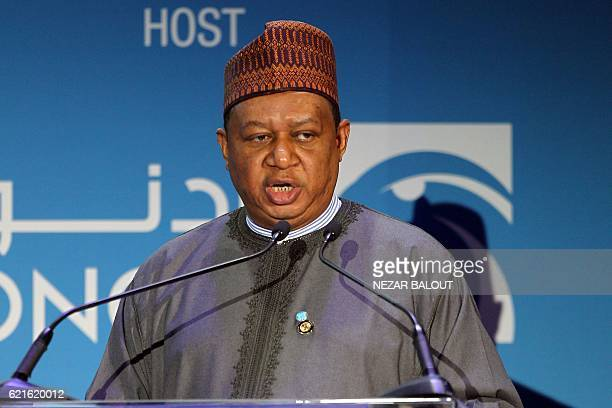 Secretary General of OPEC Nigerian Mohammed Barkindo speaks during Abu Dhabi International Petroleum Exhibion and Conference on November 7 at the Abu...