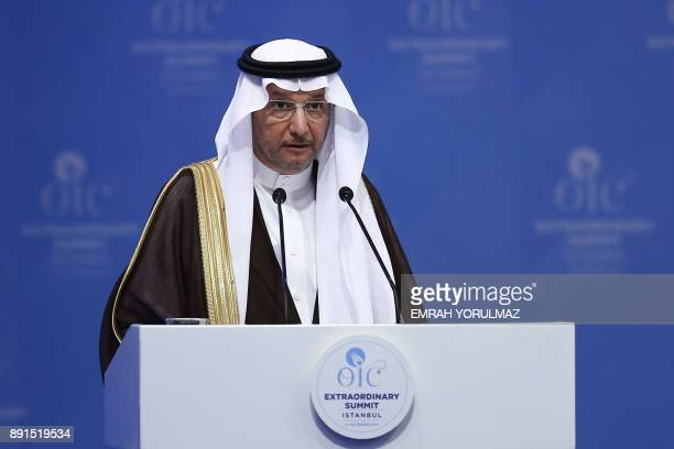 Secretary General of Organisation of Islamic Cooperation , Yousef bin Ahmad Al-Othaimeen delivers a speech on December 13, 2017 during the...