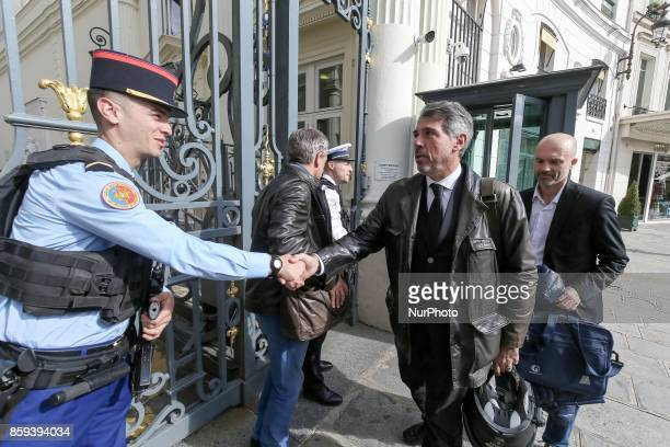 Secretary General of police's union Alliance JeanClaude Delage Johann Cavallero and Frédéric Lagache arrive to meet with the Minister of Interior...