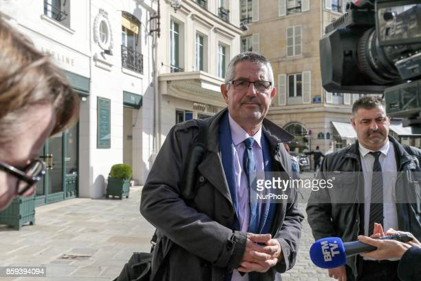 Secretary General of police's union UNSA Police Philippe Capon arrive to meet with the Minister of Interior Gérard Collomb on October 09 place...