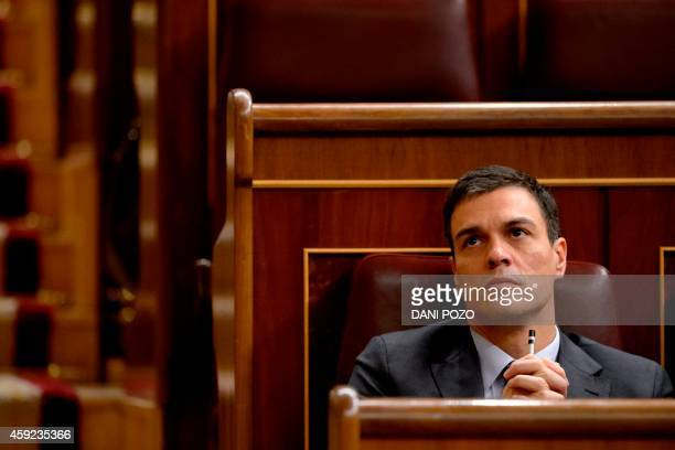 Secretary general of Spanish Socialist Party Pedro Sanchez attends a control session of the Spain's lower house of the parliament in Madrid on...