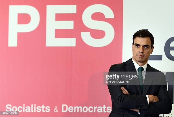 Secretary general of Spanish Socialist Party Pedro Sánchez looks on during the PES leaders meeting at IFEMA pavilion in Madrid on February 21 2015...