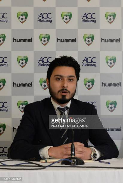 Secretary general of the Afghanistan football federation Sayed Alireza Aqazada speaks during a press conference in Kabul on December 1 2018...