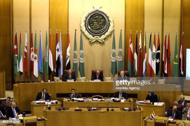 Secretary General of the Arab League Ahmed Abu Gayt and Algerian Minister of Maghreb African Union and Arab League Affairs Abdelkader Messahel attend...