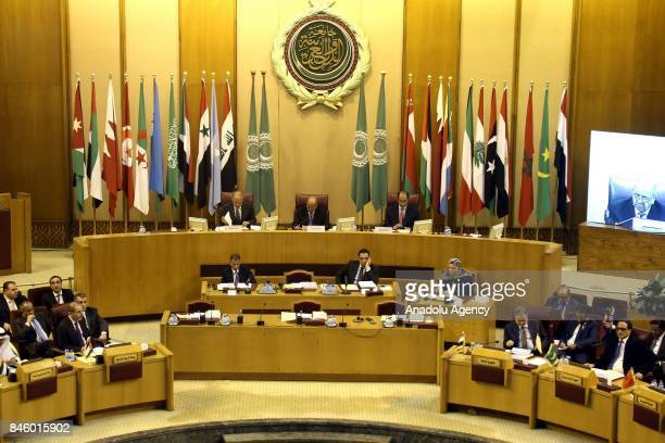 Secretary General of the Arab League Ahmed Abu Gayt and Algerian Foreign Minister Abdelkader Messahel attend the 148th session of the Arab League...