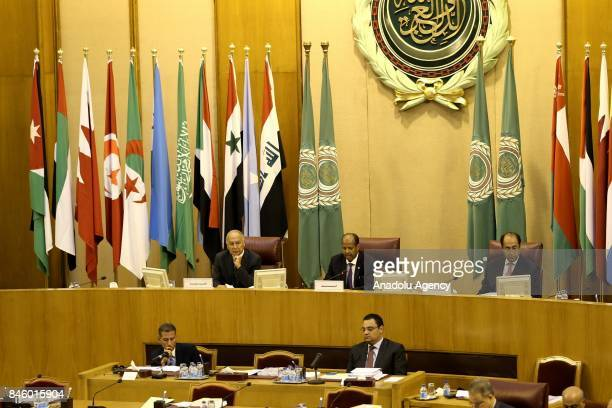 Secretary General of the Arab League Ahmed Abu Gayt and Djibouti's Foreign Minister Mahamoud Ali Youssouf attend the 148th session of the Arab League...