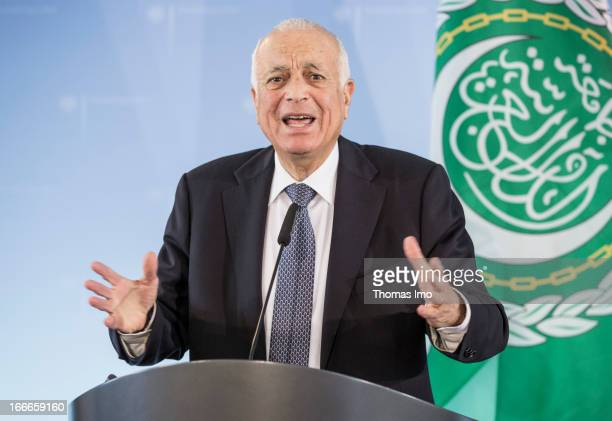 Secretary General of the Arab League Nabil El Araby speaks during a press conference after a meeting at the Federal Foreign Office on April 15 2013...