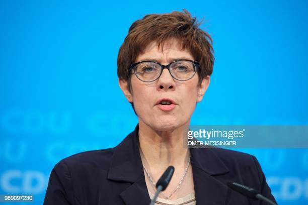 Secretary General of the Christian Democratic Union Annegret KrampKarrenbauer delivers a statement after a party leadership meeting at the CDU...