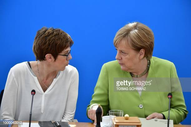 Secretary General of the Christian Democratic Union Annegret KrampKarrenbauer and German Chancellor and leader of the Christian Democratic Union...