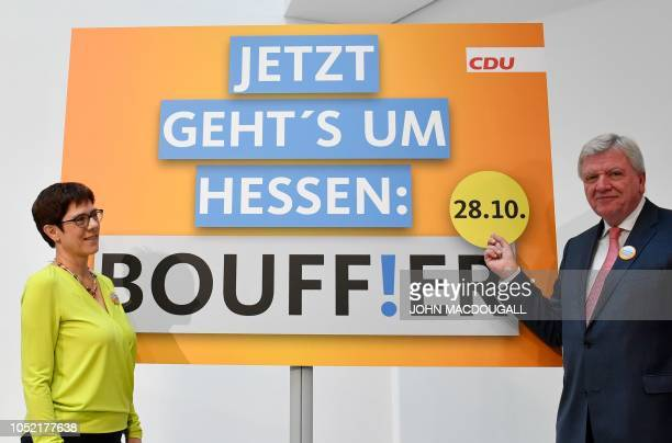 Secretary General of the Christian Democratic Union Annegret KrampKarrenbauer and Hesse's State Premier and Deputy Chairman of the Christian...