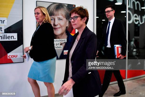 Secretary General of the Christian Democratic Union Annegret KrampKarrenbauer arrives to deliver a statement after a party leadership meeting at the...