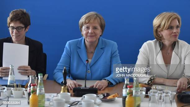 Secretary General of the Christian Democratic Union Annegret KrampKarrenbauer German Chancellor and leader of the Christian Democratic Union Angela...