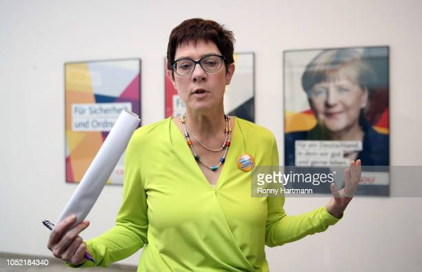 Secretary General of the Christian Democratic Union Annegret KrampKarrenbauer gives a press statement after a meeting of the CDU governing board the...