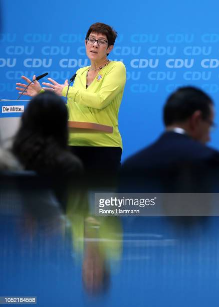 Secretary General of the Christian Democratic Union Annegret KrampKarrenbauer gives a press conference after a meeting of the CDU governing board the...