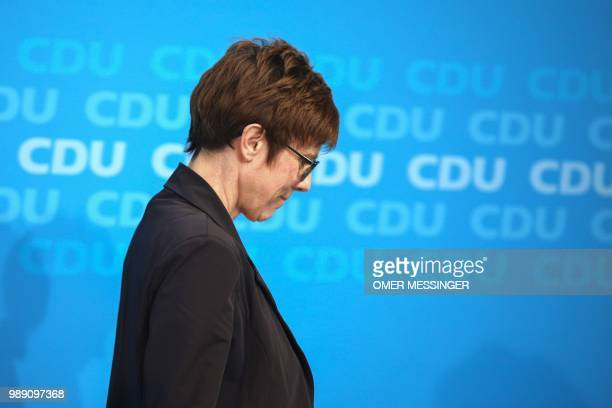 Secretary General of the Christian Democratic Union Annegret KrampKarrenbauer leaves after delivering a statement after a party leadership meeting at...