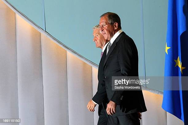 Secretary General of the Council of Europe Thorbjorn Jagland and Russian Foreign Minister Sergey Lavrov hold a press conference May 20 2013 in Sochi...