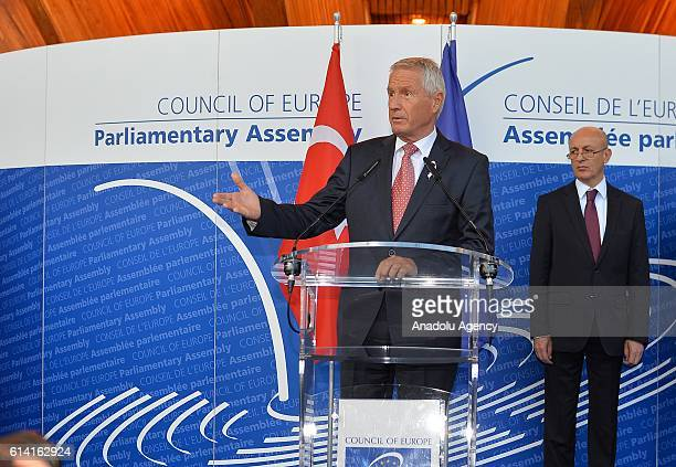 Secretary General of the Council of Europe Thorbjorn Jagland delivers a speech before the opening ceremony of the Anadolu Agency's July 15th...