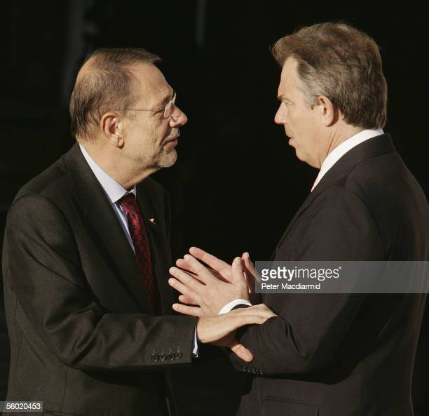Secretary General of the Council of the European Union Javier Solana is welcomed by Prime Minister Tony Blair at Hampton Court Palace on October 27...